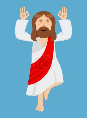 Jesus Christ is engaged in yoga. Jesus in lotus position. Cheerf