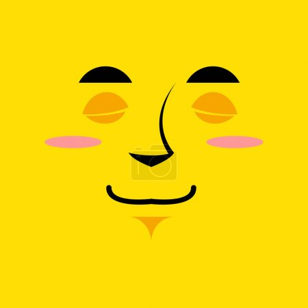 Cartoon cute face an yellow background. Gaiety emotion. Sleeping