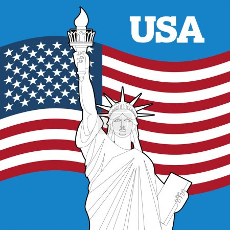 Statue of Liberty and American flag. Symbol of freedom and democ