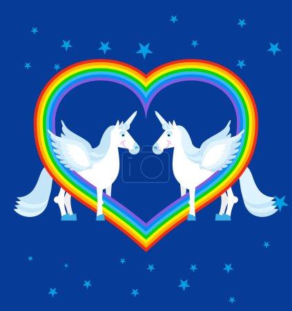 Two blue unicorn and rainbow in heart shape. Fantastic animals o