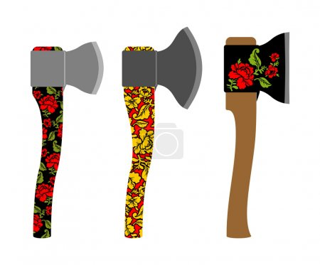 Axe  traditional  Russian  pattern of colors - khokhloma. Weapon