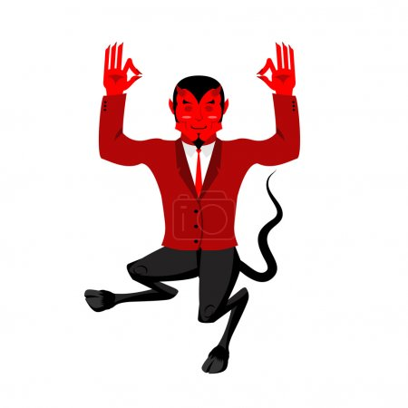 Дьявол занимается йогой красного демона