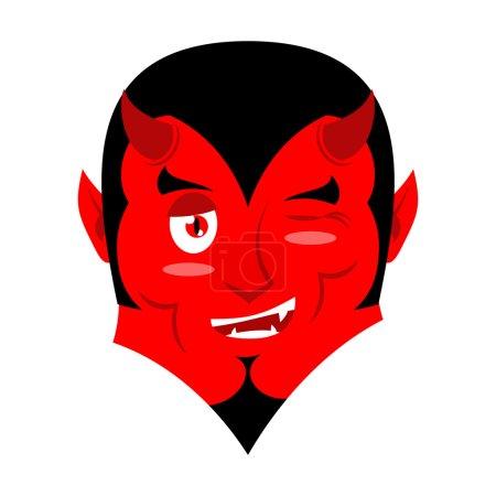 Сатана Демон подмигивает делает предупреждение