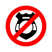 Stop cop It is forbidden by police Strikethrough police badge