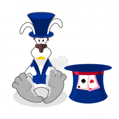 White rabbit in blue hat. bunny in waistcoat. Cylinder is Mad Ha