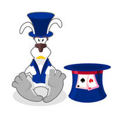 White rabbit in blue hat bunny in waistcoat Cylinder is Mad Ha