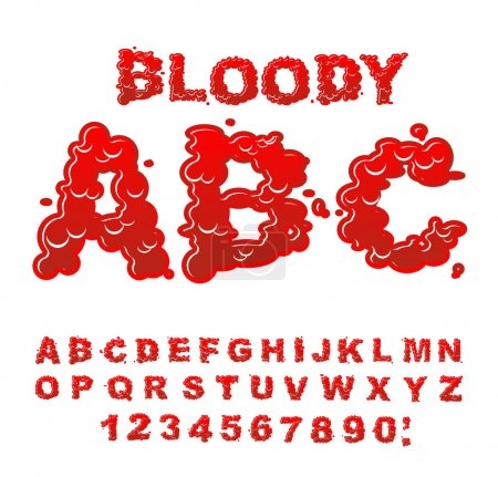 Illustration for Bloody ABC. Red liquid letter. Fluid lettring. Blood font of scarlet sign. Alphabet gor - Royalty Free Image