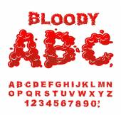 Bloody ABC Red liquid letter Fluid lettring Blood font of sca