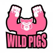 Wild pigs logo for sports team Angry pig Aggressive big boar