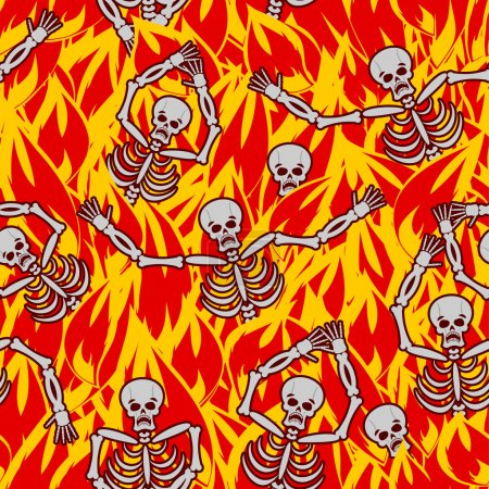 Sinners in fire hell seamless pattern. dead in Gehenna. Skeletons screaming for help. Hells torments. Religious background. reckoning for sin