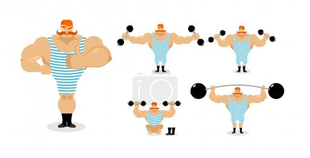 Retro athlete set poses. Ancient bodybuilder with red mustache e