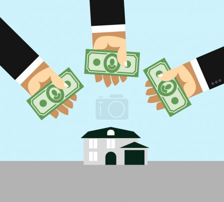 Arms and money. Buying a House. Selling a home. Business illustr