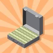 Suitcase of money wads of dollars isometric style