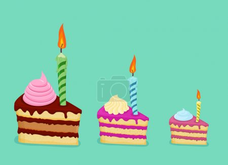 Set of different cake slices. For birthday card