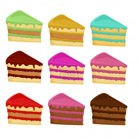 Cartoon Set  cake slices