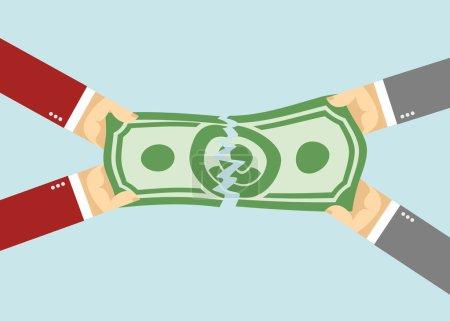 Divide the money. torn entered. businessman Hand p...
