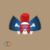 Boxing logo Skull in a boxing helmet with gloves with wings