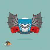 Boxing emblem Skull in a boxing helmet with gloves with wings