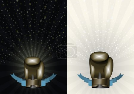 Illustration for Boxing gloves. Template for Championship Awards. boxing Bronze cup. Vector sport background with cup. Eps 10 - Royalty Free Image