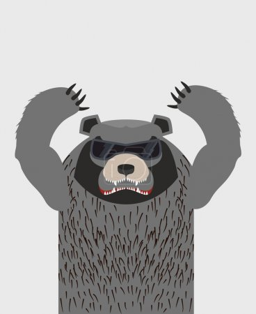Illustration for Angry grizzly bear with glasses. Vector illustration - Royalty Free Image