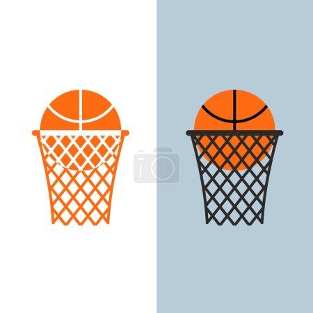 Basketball logo. Ball and net for basketball games