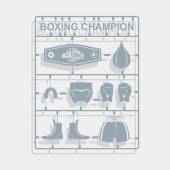 Set Boxing equipment Plastic model kits Vector illustration