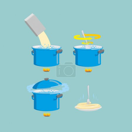 Illustration for Icon set cooking pasta recipe. Vector illustratio - Royalty Free Image