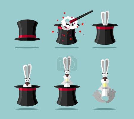 Illustration pour Set magicien : baguette, Topper et lapin. Icône vectorielle - image libre de droit