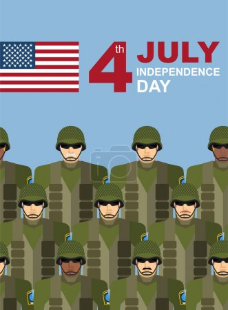 4th july. American independence day. Soldiers with military camo