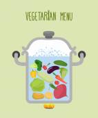 Vegetables in a saucepan Logo for  vegetarian menu Useful and
