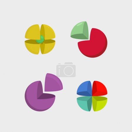 Set  logo sphere. 3d abstract ball logos. Scope of  segments. Ve
