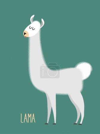 Llama Alpaca. Animal Lama on a green background. Vector illustra