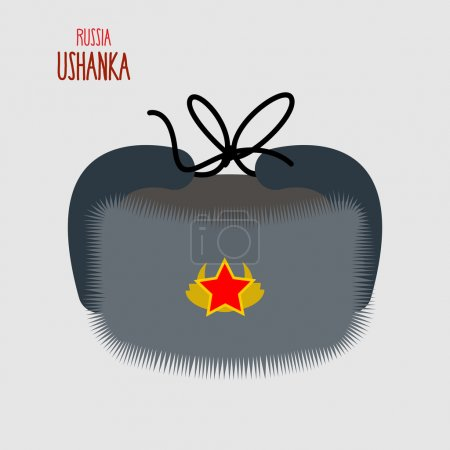 Ushanka. National cap of   military in Russia. Vector illustrati