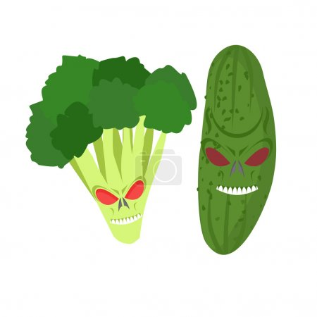 angry vegetables. Wicked cucumber. Ferocious broccoli. Vector il