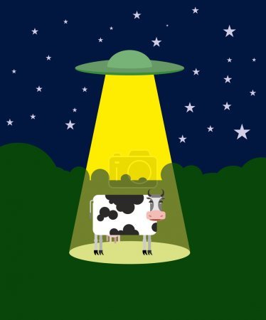 UFO abducts a cow. Space aliens and cattle. Flying saucer beam p