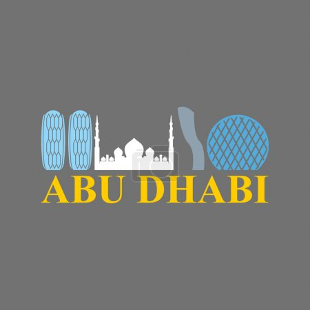 Abu Dhabi sign. Sight UAE. Skyscrapers and a mosque. Vector Flat