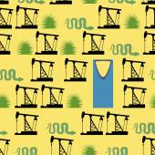 Saudi Arabia seamless pattern Desert and oil pumps snakes and