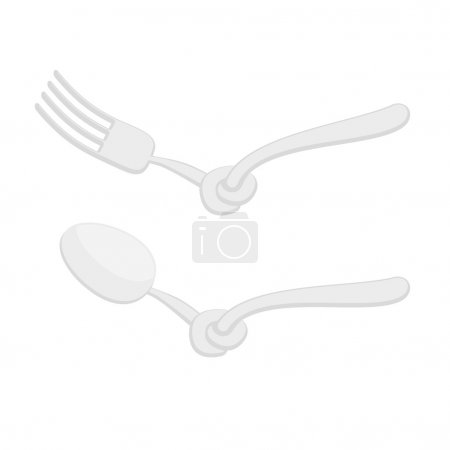 Spoon tied knot. Fork with node. It is impossible to eat. Cutler