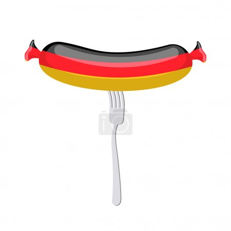 Germany banger. Sausage on a fork. Traditional delicacy in color