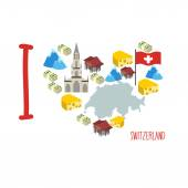 I love Switzerland Symbol heart of cheese and Alps Bank and mo