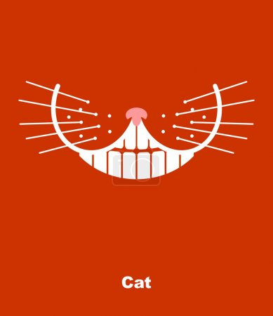 Cat smile on a red background. Vector illustration. teeth and wh