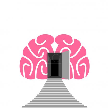 Open door and step of  human brain. Entrance into  subconscious.