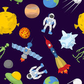Space cartoon seamless pattern Vector background Astronaut and rocke