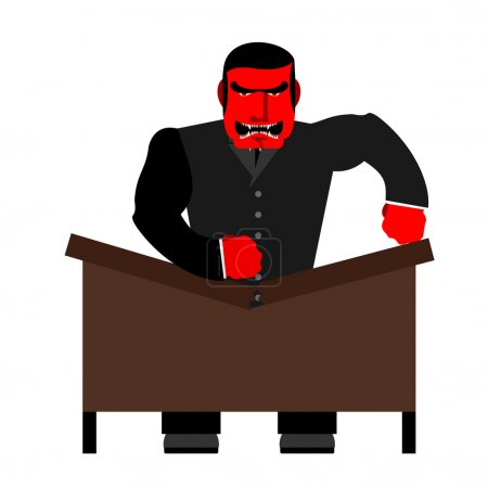 Big boss broke a table. Red  Businessman as loud in Office. Vect