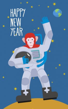 Red Monkey astronaut waving hand. Happy new year. Chimpanzees in