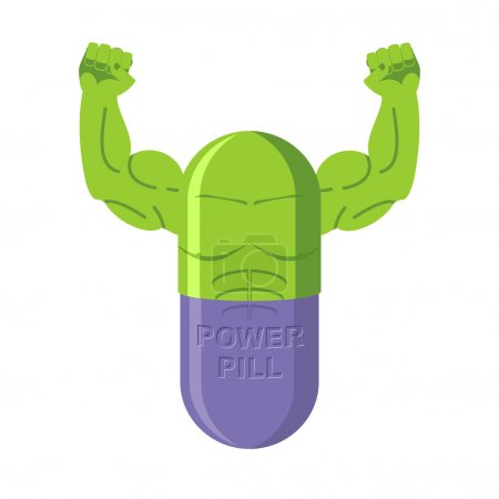 Power pills. Tablets for bodybuilding. Medication with big muscl