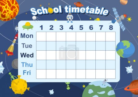 Schedule. school timetable on theme of space and Galaxy. Vetkor