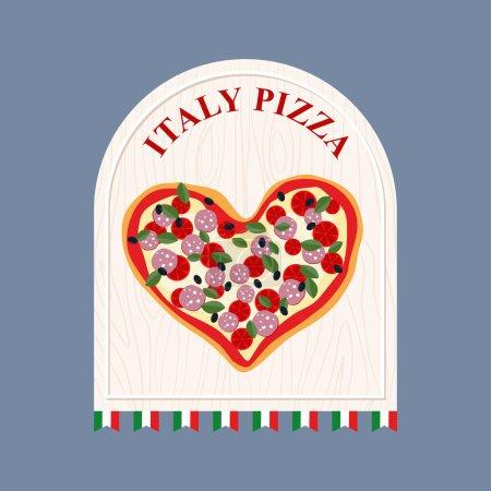 Illustration pour Pizza en Italie. Pizza en forme de cœur. Signez pour un café ou un restaurant italien. Illustration vectorielle - image libre de droit
