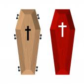 Set of coffins Red beautiful expensive coffin and a wooden coff