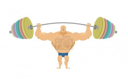 Bodybuilder raises sports barbell with colored discs. Bench pres